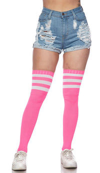 Over The Knee Ribbed Thigh High Athletic Socks - Pink