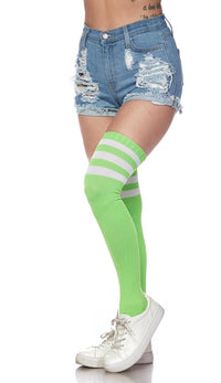 Over The Knee Ribbed Thigh High Athletic Socks - Green