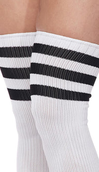 Over The Knee Ribbed Thigh High Athletic Socks - White