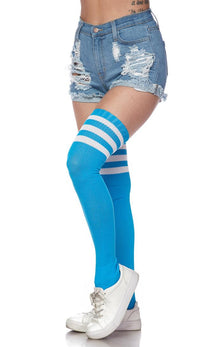 Over The Knee Ribbed Thigh High Athletic Socks - Sky Blue