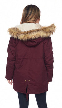 Quilted Lining Sherpa Trim Hooded Parka Coat - Burgundy