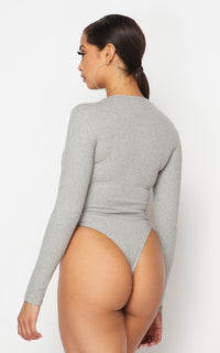 Long Sleeve Ribbed Bodysuit in Gray - SohoGirl.com