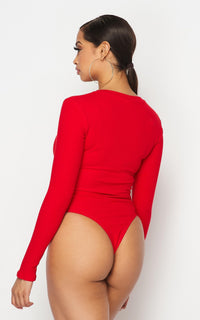 Long Sleeve Ribbed Bodysuit in Red