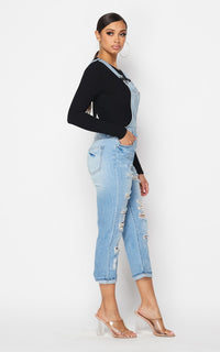 Slightly Distressed Boyfriend Overalls - Light Denim