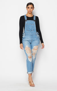 Distressed Boyfriend Denim Overalls - Medium Denim