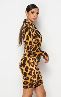 Front Zip-Up Leopard Print Romper