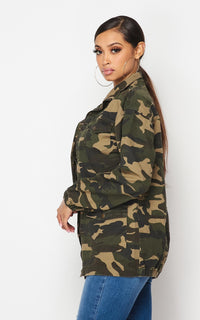 Zip-Up Camouflage Cargo Jacket - Olive