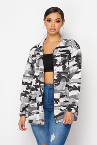 Zip-Up Camouflage Cargo Jacket - Gray