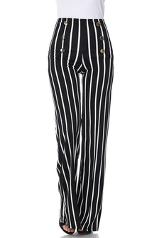 Pinstripe Six Button Palazzo Pants (Plus Sizes Available) - SohoGirl.com