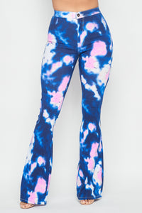 High Waisted Stretchy Tie Dye Bell Bottom Jeans - Blue Pink - SohoGirl.com
