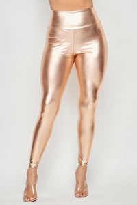High Waisted Faux Leather PU Leggings in Rose Gold (Plus Sizes Available S-XXXL) - SohoGirl.com