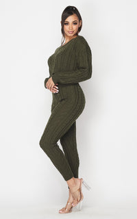 Cable Knit Crop Top and Leggings Set - Olive