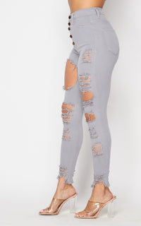 Vibrant Button Fly Distressed Skinny Jeans - Gray - SohoGirl.com