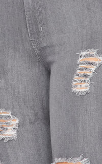 Vibrant Wide Flare Distressed Jeans - Gray