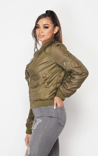 Classic Puffy Satin Bomber Jacket - Olive