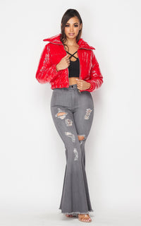 Cropped Oversize Collared Puffer Jacket in Red - SohoGirl.com