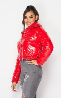 Cropped Oversize Collared Puffer Jacket in Red