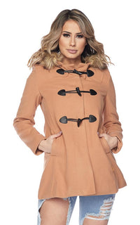 Fur Trim Hooded Long Sleeve Toggle Coat - Tan