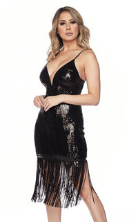 Sequin Fringe Plunging V-Neck Dress - Black
