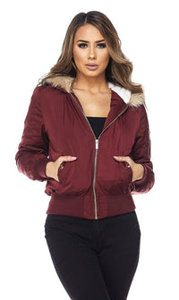 Burgundy Faux Fur Lined Zippered Bomber Jacket