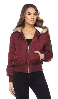 Burgundy Faux Fur Lined Zippered Bomber Jacket - SohoGirl.com