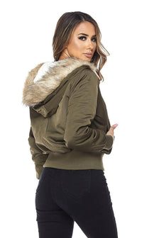 Olive Faux Fur Lined Zippered Bomber Jacket