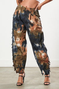 High Waisted Distressed Slouchy Jeans - Brown Tie Dye