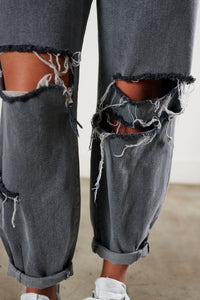 High Rise Slouchy Distressed Jeans - Grey Denim - SohoGirl.com