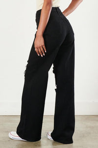 Vibrant Loose Fit Denim Distressed Flair Pants - SohoGirl.com
