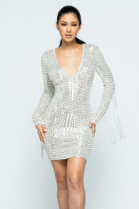 Deep V-Neck Studded Long Sleeve Mini Dress - Silver - SohoGirl.com