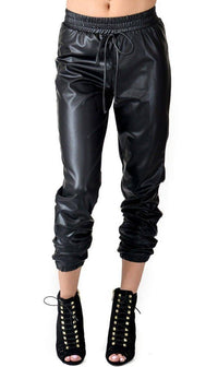 Faux Leather Jogger Pants with Drawstring (Plus Sizes Available S-3XL)