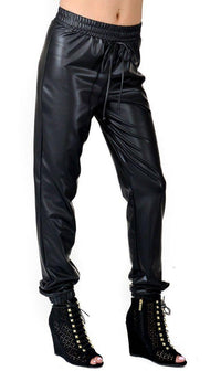 Faux Leather Jogger Pants with Drawstring (Plus Sizes Available S-3XL) - SohoGirl.com