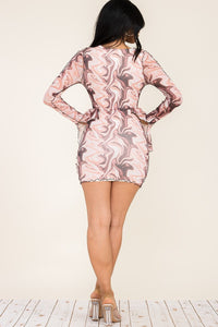 Long Sleeve Open Front Print Mini Dress - Brown & White - SohoGirl.com