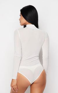 Sheer Mock Neck Long Sleeve Bodysuit - White