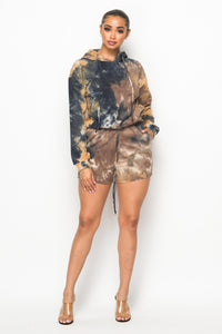 2 Piece Tye Dye Shorts Set With Hoodie Sweater - Taupe - SohoGirl.com