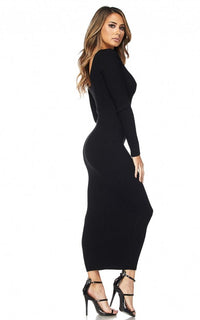 Maxi Ribbed Long Sleeve Sweater Dress - Black
