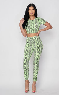 Neon Green Snake Print Two Piece Set - SohoGirl.com