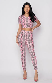 Neon Pink Snake Print Two Piece Set