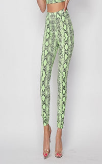 Neon Green Snake Print High Waisted Leggings