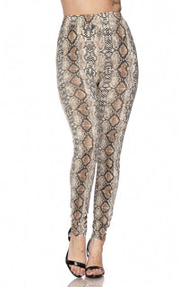 Snakeskin Print High Waisted Leggings - SohoGirl.com