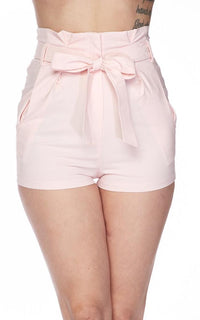 High Waisted Front Tie Waist Shorts - Pink