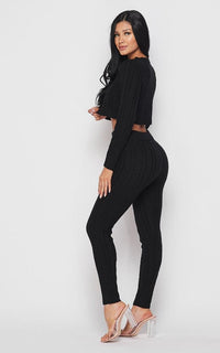 Cable Knit Crop Top and Leggings Set - Black - SohoGirl.com