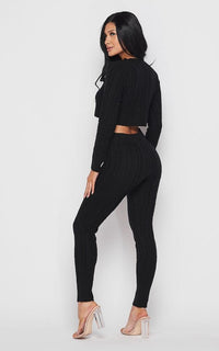 Cable Knit Crop Top and Leggings Set - Black
