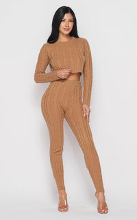 Cable Knit Crop Top and Leggings Set - Mocha