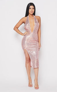 Sequin Deep V Side Slit Midi Dress - Rose Gold - SohoGirl.com