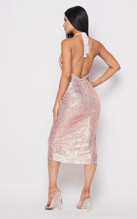 Sequin Deep V Side Slit Midi Dress - Rose Gold