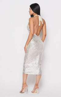Sequin Deep V Side Slit Midi Dress - Silver