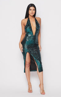 Sequin Deep V Side Slit Midi Dress - Teal