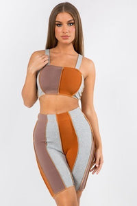 2 Pc. Biker Set - Multicolor Brown - SohoGirl.com