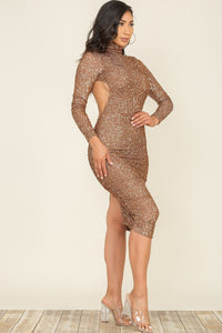 Open Back Long Sleeve Sequin Midi Dress - Brown - SohoGirl.com
